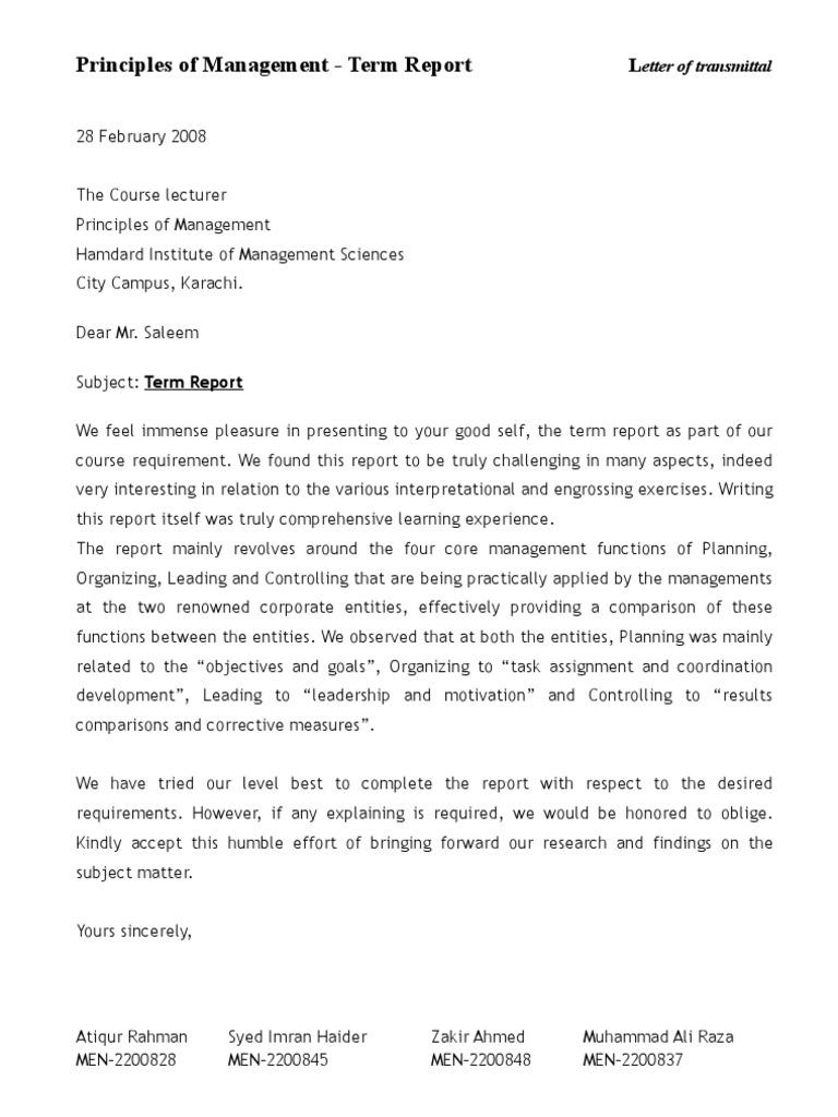 Letter of transmittal term report spiritdancerdesigns Choice Image