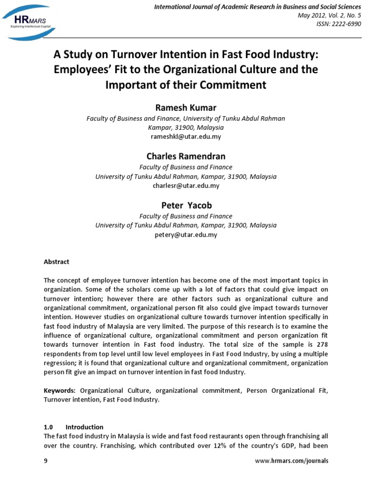 A Study On Turnover Intention In Fast Food Industry Employees Fit To The Organizational Culture And The Important Of Their Commitment Organizational Culture Turnover Employment