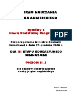 Program Nauczania Gim III.1 2009.New Inspiration- Klasa 1