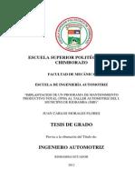 IMPLANTACIÓN DE UN PROGRAMA DE MANTENIMIENTO PRODUCTIVO TOTAL (TPM) AL TALLER AUTOMOTRIZ DEL I. MUNICIPIO DE RIOBAMBA (IMR)