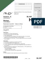 Biology Unit 1 Question Paper