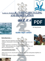 CITY WATER – SAVING, RECYCLING AND REIRCULATION