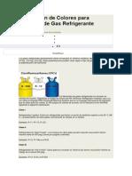 Asignación de Colores para Cilindros de Gas Refrigerante