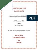 Christmas Closure 2013