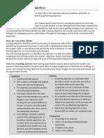 Internship Learning Objectives