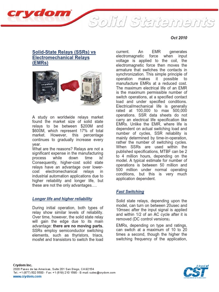 Solid Statements Ssrs Vs Emrs Relay Switch Crydom State Ac