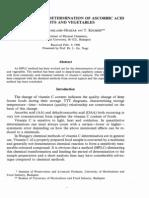 HPLC Method for Determinationof Ascorbic Acid in Fruit and Vegatables