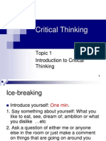 Critical Thinking - Topic 1
