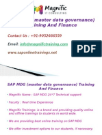 SAP MDG (Master Data Governance) Training and Finance