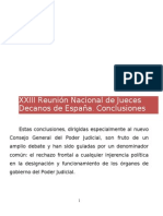 Conclusiones de la XXIII Reunión Nacional de Jueces Decanos de España