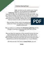 Christmas Opening Prayer