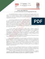 Nota de Prensa Sobre La LSP de La FTSP USO