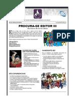 Anúncio de emprego da Mythos Editora