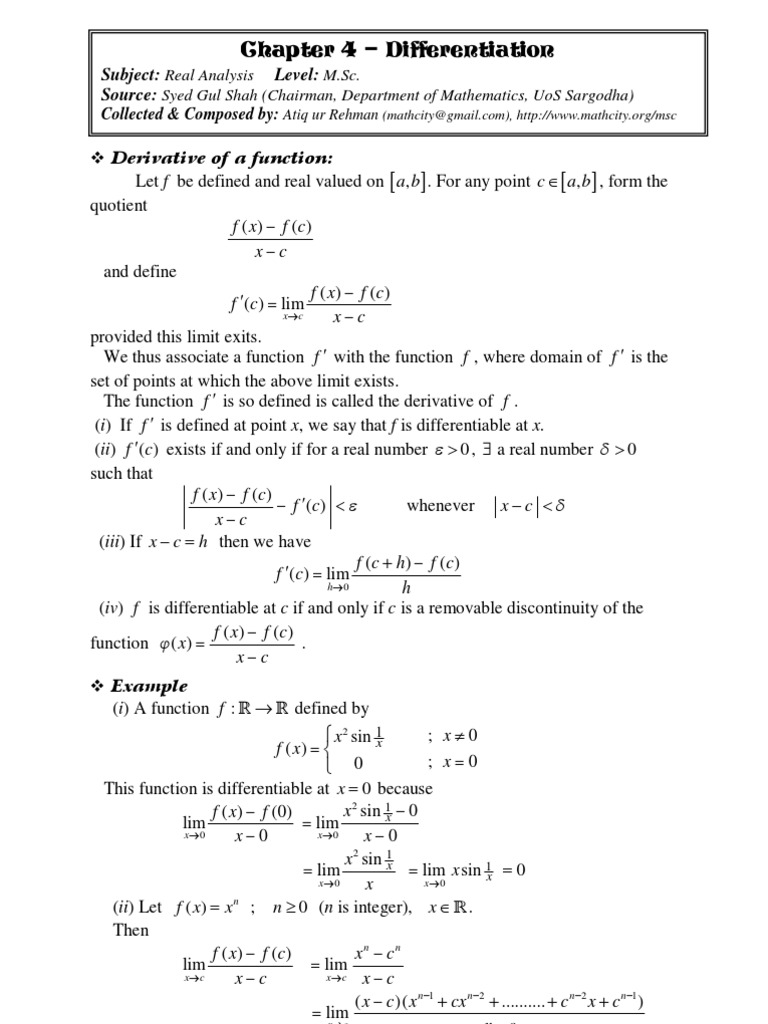 Chap 04 Real Analysis: Differentiation | Mathematical Relations