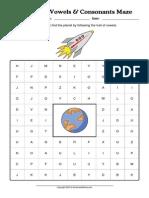 WorksheetWorks Vowels Consonants Maze 2