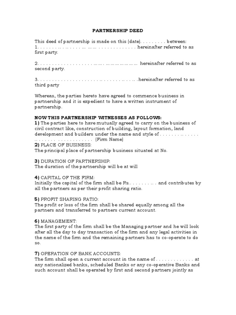 contract for partnership