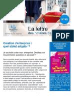 Lettre Des Notaires de France - Septembre 2013