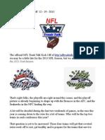 NFL Trash Talk Kick Off 12-19-2013