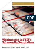 Weaknesses in FSIS's  Salmonella Regulation