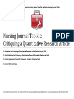 American nurses association Nursing Journal Toolkit-Quantitative research study critique  guide to research critique