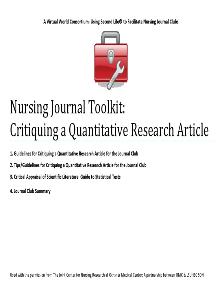quantitative nursing research article critique