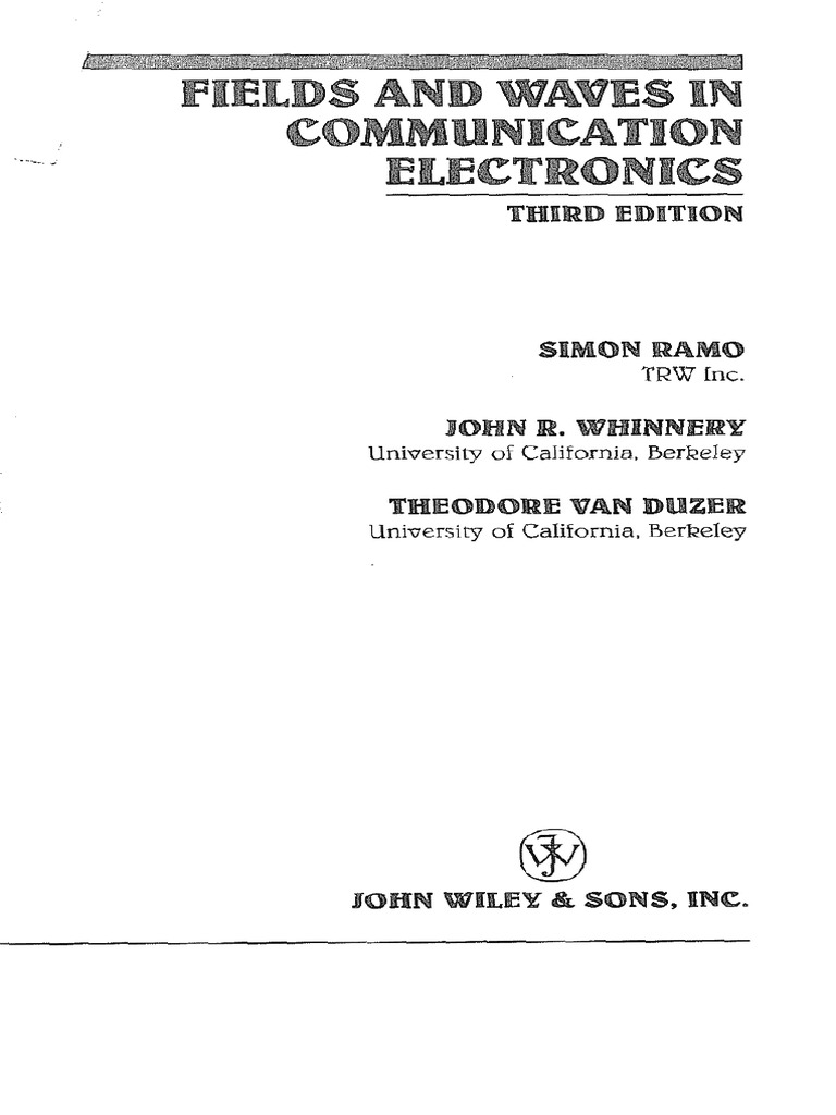 Book fields and waves in communication electronics ramo whinnery book fields and waves in communication electronics ramo whinnery and van duzerpdf fandeluxe Choice Image