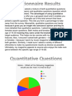 Questionnaire Results + Analysis