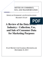 12.18.13 Senate Commerce Committee Report on Data Broker Industry
