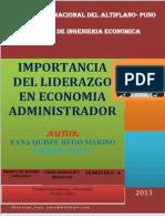 Importancia de Liderazgo en Economia Administrador. de Hugo
