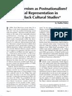 Madhu Dubney Postmodernism as Postnationalism? Racial Representation in Black Cultural Studies
