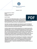 Jack Lew debt ceiling letter to Congress