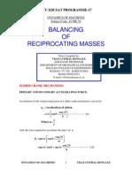 Balancing of Reciprocating Masses - Notes