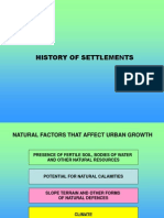 History of Urban Settlements