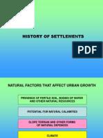 History of Urban Settlements