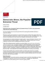 Anthony Painter, Democratic Stress, The Populist Signal and Extremist Threat (21 March 2013)