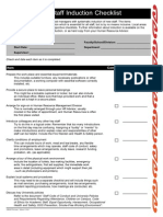 New Staff Induction Checklist