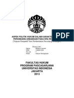 Aspek Politik Hukum Dalam Karakter Produk Perundang
