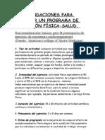 RECOMENDACIONES PARA REALIZAR UN PROGRAMA DE CONDICIÓN FÍSIC1