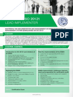 ISO 20121 Lead Implementer - Four Page Brochure