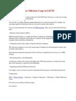 Define Milestone Usage in SAP PS