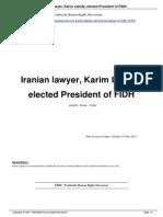 Iranian Lawyer Karim Lahidji Elected President of FIDH a13303