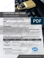 ISO 31000 Risk Manager One Page Brochure