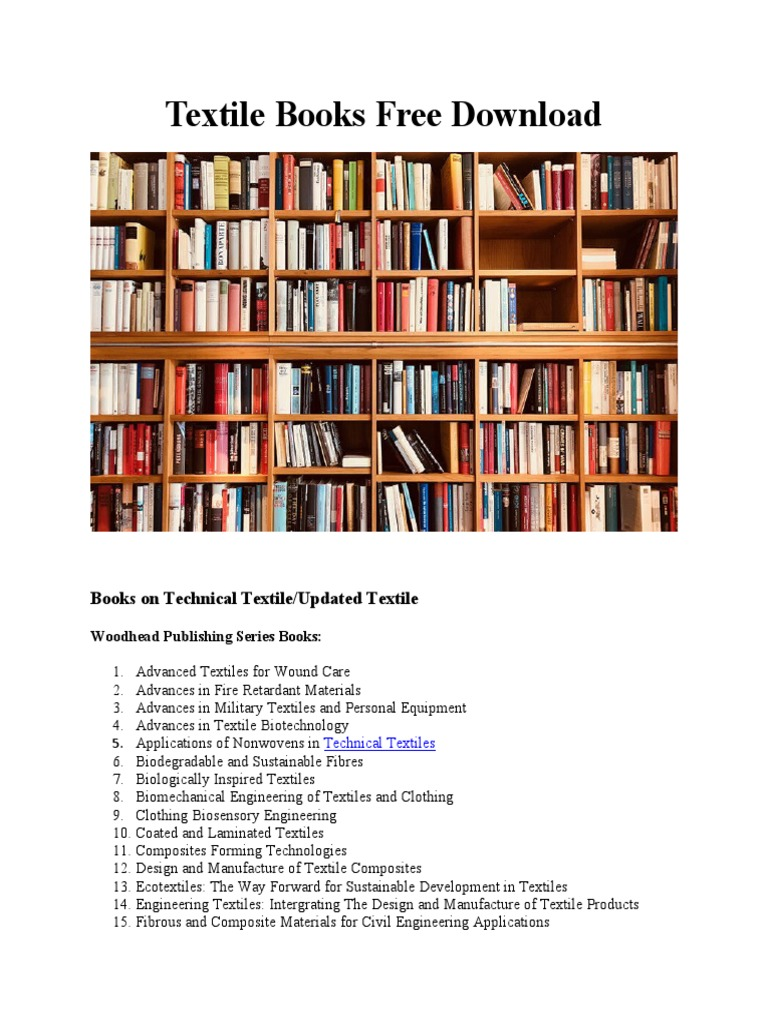 Free Download Latest Textile Books Textiles Fibers