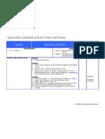 Detailed Agenda TSL Selection Criteria Formatted