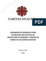 LINEAMIENTOS GENERALES PARA ESTABLECER UNA POLÍTICA DE PROTECCIÓN DE MENORES EN CARITAS HUACHO