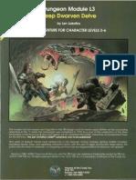 AD&D 1.0 L3 Level 3-6 Adventure - Deep Dwarven Delve (No Map)