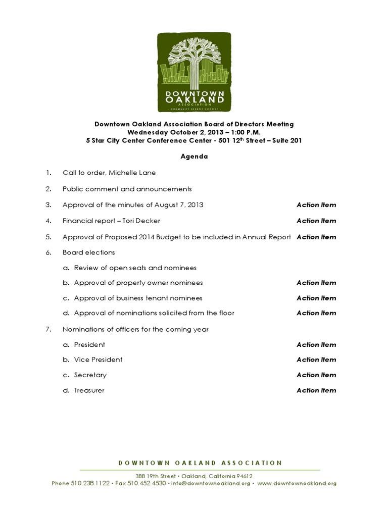 DOA Board Meeting October 2, 2013 Agenda Packet