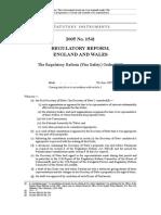 Regulatory Reform Fire Safety Order 2005