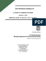 MDEQ Marathon Petroleum Permit 63-08C Response To Comments