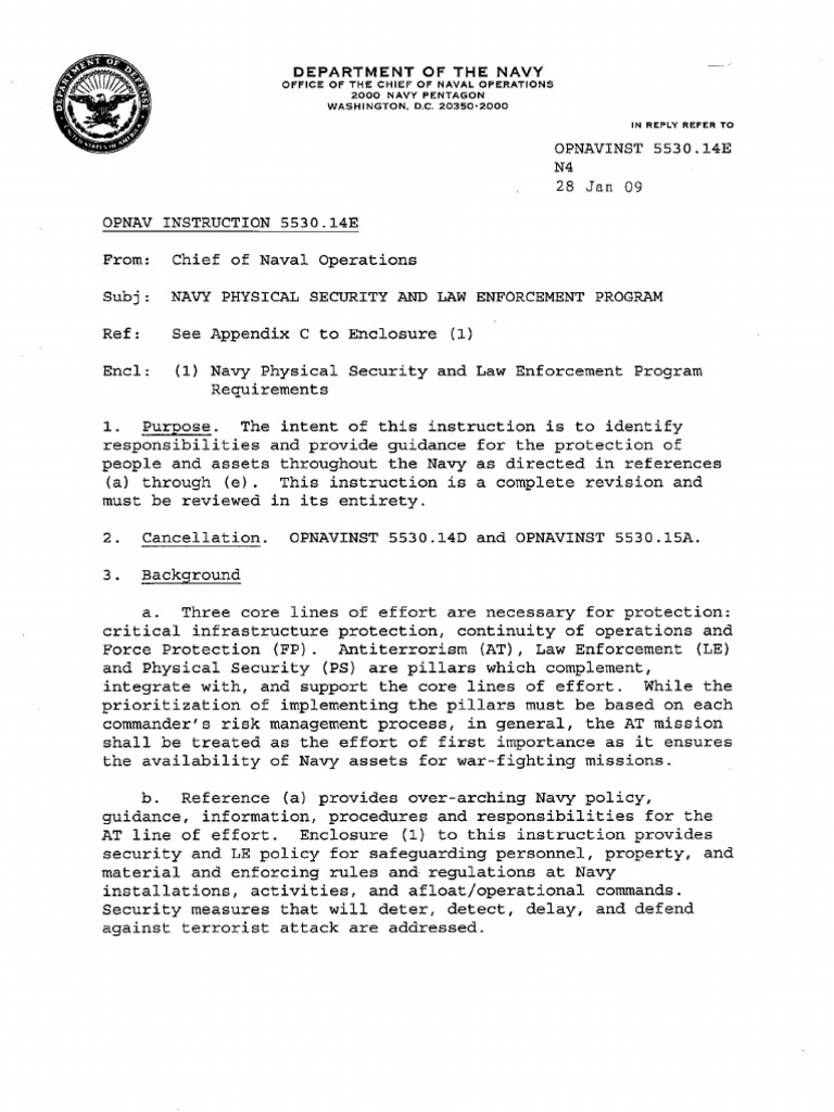 Opnavinst 553014e Naval Criminal Investigative Service Threat